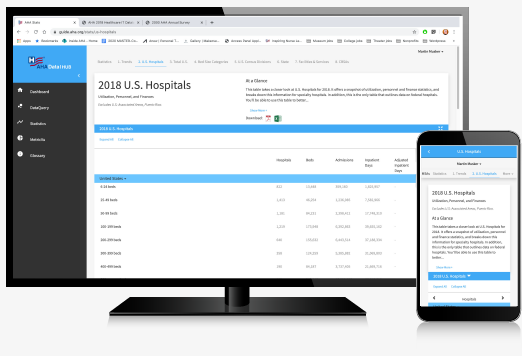 aha hospital statistics app mockup on computer and phone